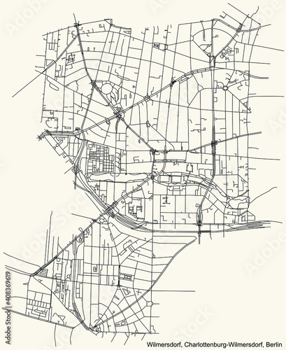Black simple detailed street roads map on vintage beige background of the neighbourhood Wilmersdorf locality of the Charlottenburg-Wilmersdorf borough of Berlin, Germany