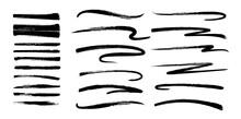 Swash Vector Illustration. Set Of Grunge Black Brushes. Design Elements For Brutal Hipster Graphics. Design Business Cards, Invitations, Gift Cards, Flyers And Brochures
