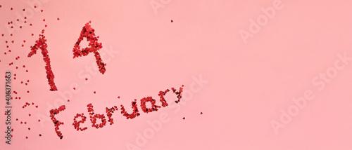 Obraz The inscription 14 February with sparkles on pink background. Valentines Day. Banner. Flatlay - fototapety do salonu