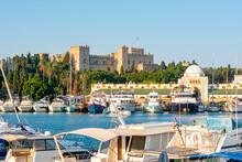Mandraki Harbor With Rhodes Fortress And New Market (Nea Agora), Rhodes, Greece