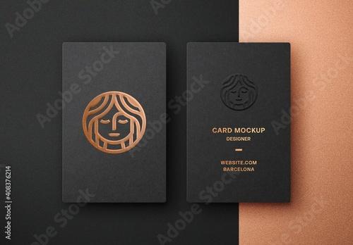 Fototapeta Vertical Copper Foil Business Card Mockup obraz