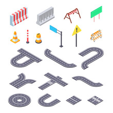 Road Under Construction Isometric Ket. Elements Of Street Asphalt And Warning Road Signs For Creation Of Closed Pathway.