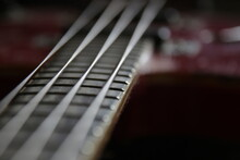 Music Background. Vintage Bass Guitar Strings, Close Up.