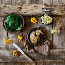 Potato Salad, Fresh Nettle, Herb Butter And Yellow Flower Heads