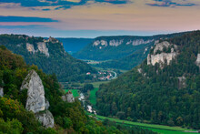 Danube Valley In Green Forest Amidst Mountains During Sunset, Swabian Alb, Germany