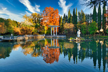 Russia, Krasnodar Krai, Sochi, Pond In Dendrarium Park During Autumn
