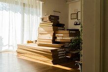 Cardboard Boxes Arranged In Living Room At Home