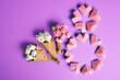 Leinwandbild Motiv International Women's Day, figure 8 and bouquet of flowers . March 8, Happy Women's Day greeting