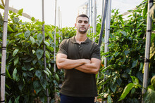 Confident Young Male Farmer Standing With Arms Crossed Amidst Plants At Farm