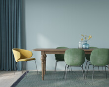 Dining Room Interior With Soft Green And Yellow Chairs And Wo…