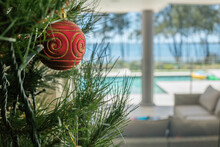 Christmas Tree Decoration In The Summer With Pool And Lake In Background