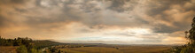 Overcast Sky Filled With Orange Smoke From Distant Bushfires Above Dry Paddocks