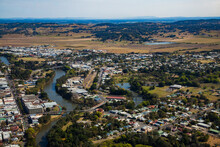 Aerial Of Rivers And The Town Of Lismore From The Air