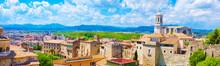 Panorama Of Medieval Girona Town, Spain