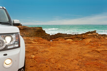 4x4 Vehicle On The Edge Of Australia, Near Robe SA