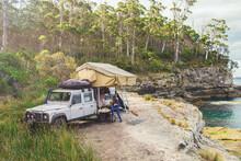 Epic Campsite On A Ledge By The Ocean, Bruny Island, Tasmania