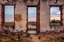 Window Views From Abandoned Rustic Ruin Of A Pretty Desert Sunrise