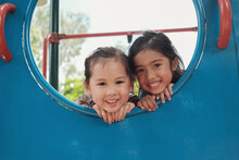 Multicultural Kids Having Fun At Playground