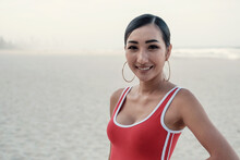 Multicultural Young Adult Woman On The Beach