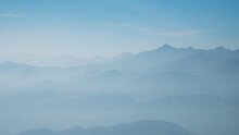 Silhouette Blue Mountain Scenery Background
