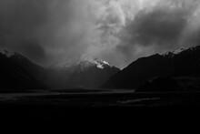 Dark Mountain Rain At Mount Sunday In New Zealand