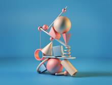 Colored Geometric Shapes. Balance Concept. 3d Illustration