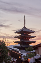 Yasaka Pagoda And Sannen Zaka Street In Kyoto At Sunset, Japan.