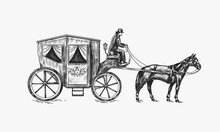 Horse Carriage. Coachman On An Old Victorian Chariot. Animal-powered Public Transport. Hand Drawn Engraved Sketch. Vintage Retro Illustration.