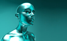 3d Rendered Illustration Of The Futuristic Alien Woman. Sci-fi Fantasy Portrait In Cyberpunk Aesthetics Style.
