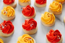 Red And Yellow Sugar Cookies Frosting