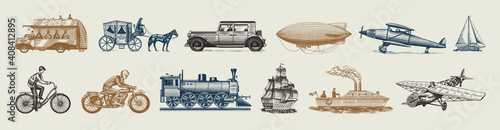 Fototapeta Submarine, boat and car, motorbike, Horse-drawn carriage