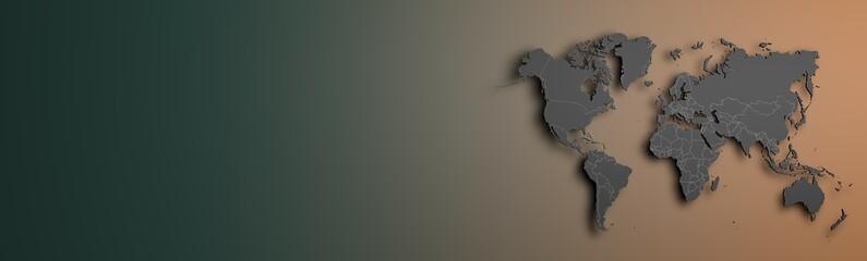 dark grey World map on colored background banner