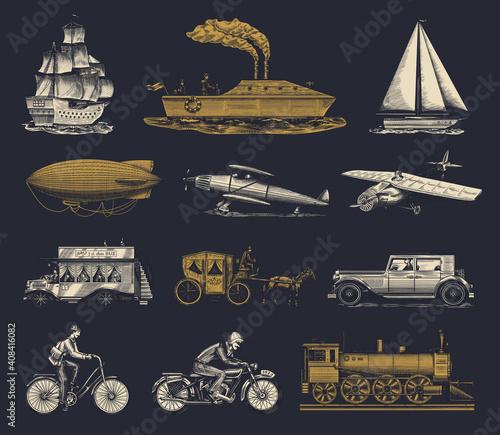 Fotografia Submarine, boat and car, motorbike, Horse-drawn carriage