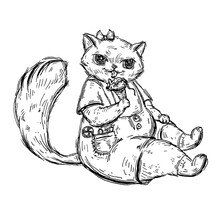 Kitten Is Sitting In Overalls And Eating Ice Cream In The Form Of A Mouse.