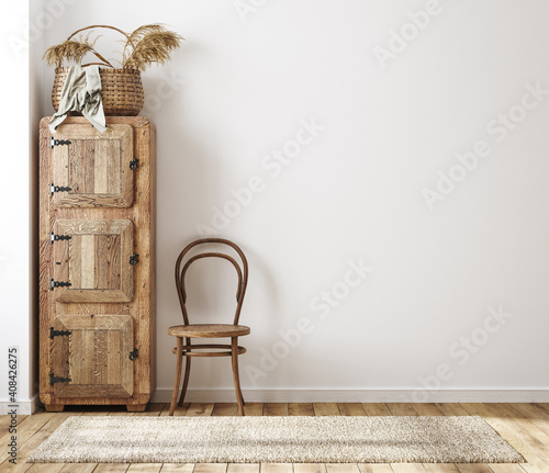 Fototapeta Home interior background, cozy room in farmhouse style, 3d render