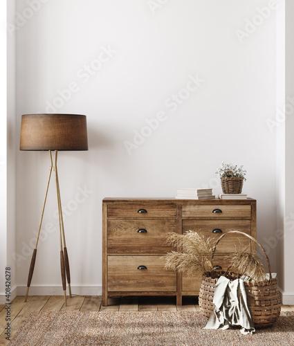 Fototapeta Home interior background, cozy room in farmhouse style, 3d render obraz