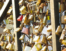 Close Up Of A Section Of  Love Locks From The Paris Bridge.
