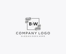 Initial BW Letters Botanical Feminine Logo Template Floral.