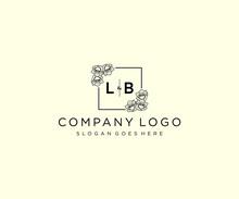Initial LB Letters Botanical Feminine Logo Template Floral.