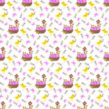 Easter Pattern - Chickens, Composition With A Nest And A Birdhouse. Out-of-vector Pattern On A White Background Easter Plot. For Packaging Paper, Fabric, Decor.