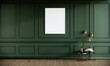 Leinwandbild Motiv Blank picture frame mock up in green color room interior, 3d rendering