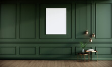 Blank Picture Frame Mock Up In Green Color Room Interior, 3d Rendering