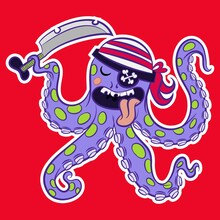 Illustration Vector Cute Octopus Pirate With Background