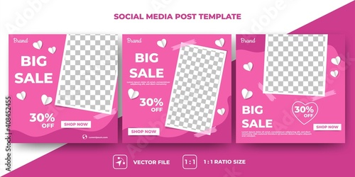 Obraz Set of Editable valentine's square banner template. Modern banner design with pink color background and love decoration. Usable for social media, banner and web. Flat design vector with photo collage. - fototapety do salonu