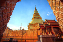 Pagoda Of Wat Prathat Hariphunchai Lumphun Northern Of Thailand