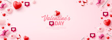 Valentine's Day Poster Or Banner For Social Media Website With Sweet Hearts And Valentine Elements On Pink Background.Promotion And Shopping Template For Love And Valentine's Day In Flat Lay Style.