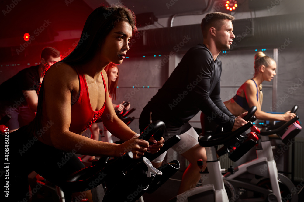 Fototapeta men and women biking in gym, exercising legs doing cardio workout cycling bikes, spinning in health club, wearing tracksuit sportive outfit