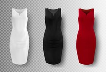 Black, White And Red Dress Mockup Set, Vector Illustration Isolated On Transparent Background. Realistic Elegant Pencil Dresses. Women Apparel, Ladies Clothing And Fashion.