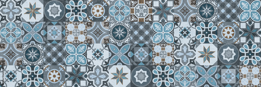 Fototapeta Seamless tiles background in portuguese style. Blue and white mosaic pattern. Tiles for ceramic in dutch, portuguese, spanish, italian style.