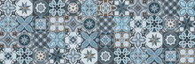 Seamless Tiles Background In Portuguese Style. Blue And White Mosaic Pattern. Tiles For Ceramic In Dutch, Portuguese, Spanish, Italian Style.